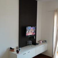 Home Theater - Painel MDF Couro e Rack Branco